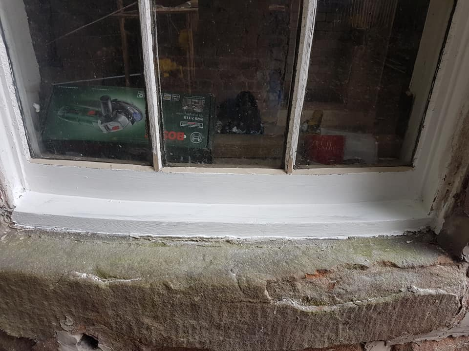 Sash window restoration Liverpool - cill repair Liverpool