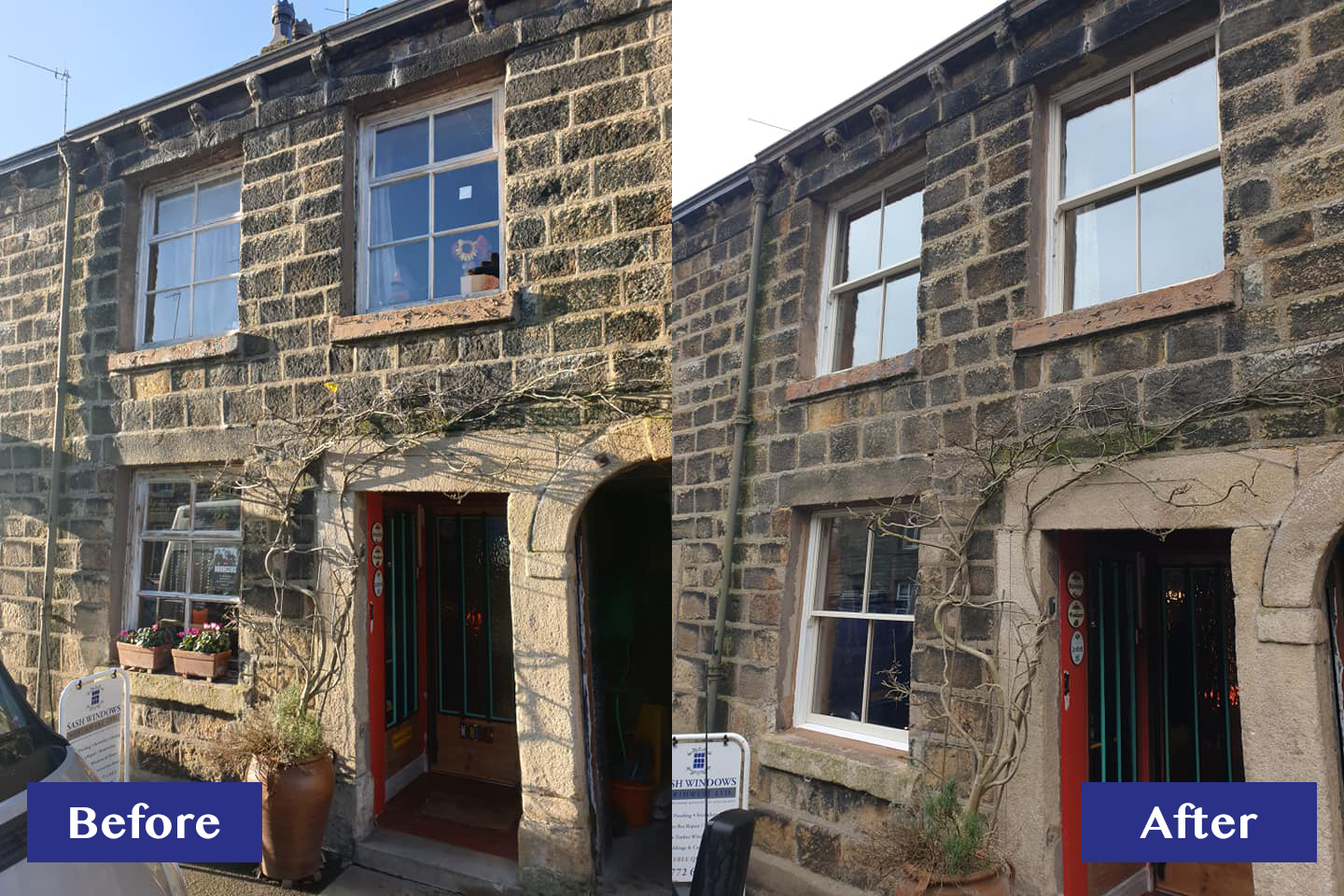 Sash window renovation before and after ribchester